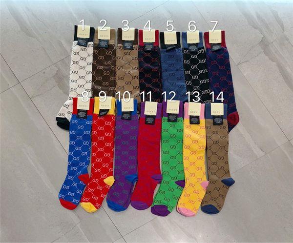 14 couleur lettre femmes coton chaussettes couleurs populaires de conception de logo bas de haute qualité chaussettes