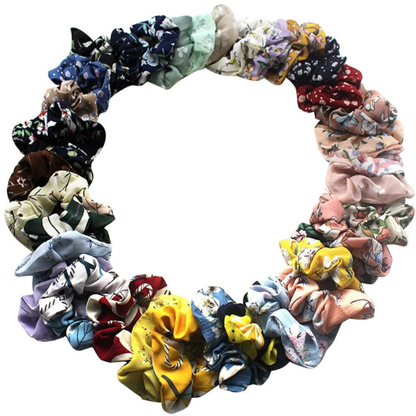 36 Мягкая шифон Scrunchie Цветочные Loop ручка держатель Эластичный диапазон волос Эластичные Галстуки волос пакет Яркие красочные Bobbles Bands M0725