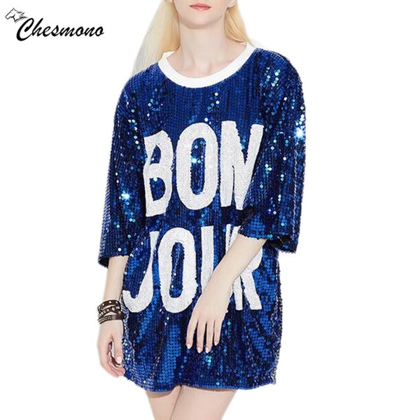Women's Loose Long Letters Print Glitters T Shirt 3/4 Sleeved Shirt Clothing Casual Femininas O-Neck Top Sequins Poleras Mujer J190424