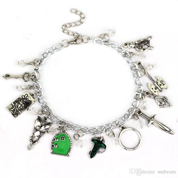 Lord of the Ring Hobbit Evening Star Wizard Leaves Sword ax Charm Bracelet bangle Cuff Wristband for Women Fashion Jewelry 320007