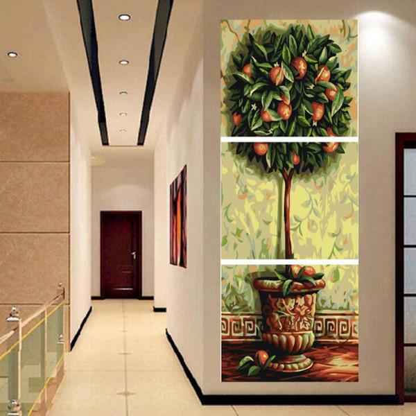 3pc / set Baum Diy Ölgemälde durch Zahlen Kits Wand-Kunst-Bild-Ausgangsdekor Acrylfarbe auf Leinwand Kunstwerk SH190918