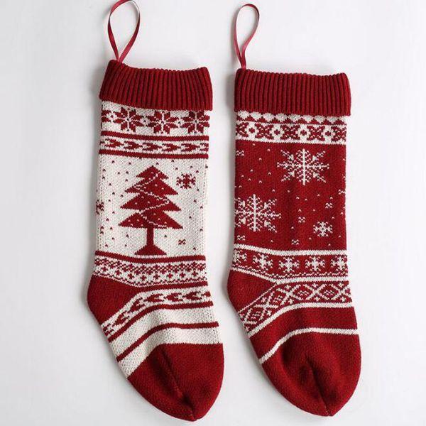 Вязаные рождественские чулки украшения шерстяные вязаные рождественские носки подарочная сумка камин рождественские украшения дома оптовая продажа ZC1092