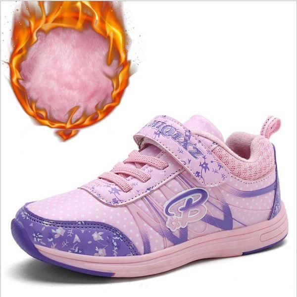 Children's shoes girls shoes plus velvet cotton shoes 2018 winter new big children thickening girls children two cotton winter