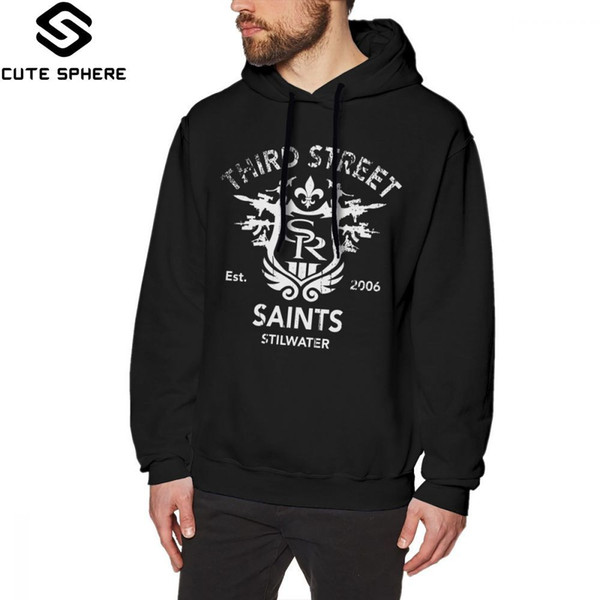 Saints Row Felpa con cappuccio Saints Row 3 Tribute Distressed White Felpa con cappuccio e cotone Streetwear Pullover Felpe con cappuccio a manica lunga