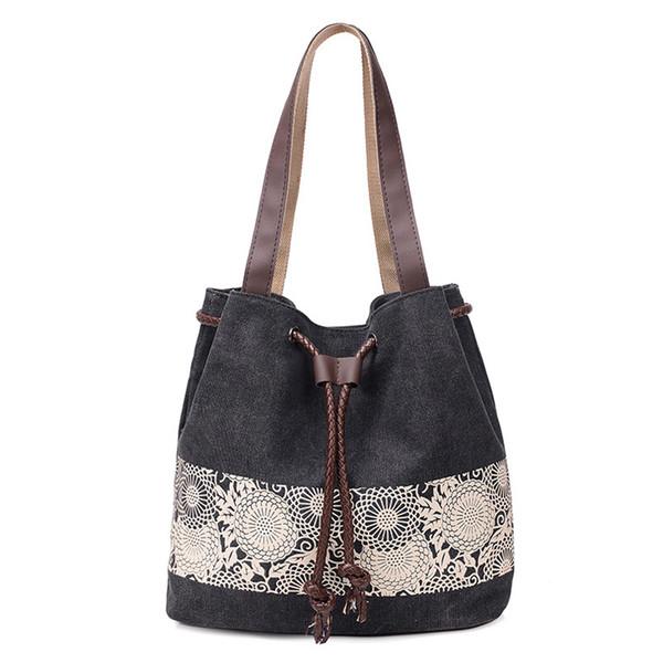 Fashion Women Canvas Shoulder Bag Ladies Handbags Literature Printing Canvas Casual Tote Lace Flower Girls Crossbody Bag Pt1232
