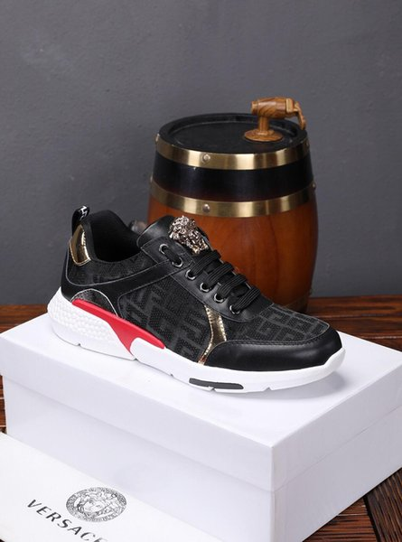 2019t autumn limited edition men's leather lace-up casual shoes, fashion street fashion wild sports shoes, original box packaging