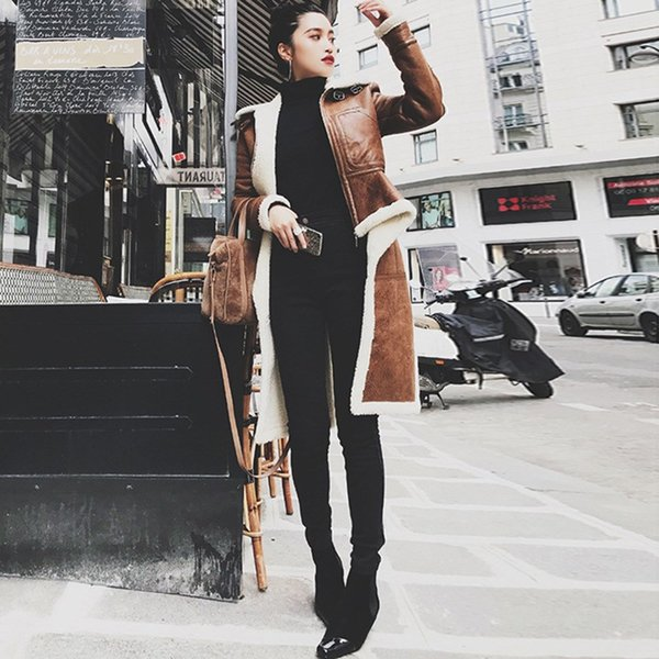 2019 Women Spring New Fur Leather Jacket Stand Collar Long Sleeve Warm Outerwear Lamb Wool Pu Leather Coat