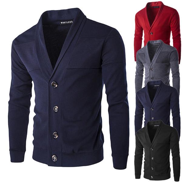 Los hombres de primavera otoño masculino delgado suéter v cuello cardigan suéter chico sólido Imprimir chaqueta abrigo Casual cuello botón de tejer suéteres
