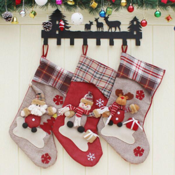 Nouveau Bas de Noël Sock Père Noël Sac floral bonbons cadeau Arbre de Noël Hanging Décor