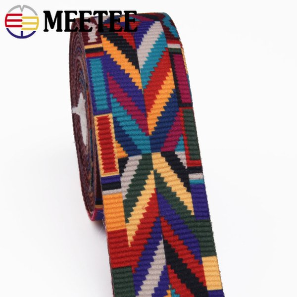 Meetee 10Yard 38/50mm Ethnic Jacquard Webbing Bag Belt Ribbon for DIY Home Textile Clothing Belt Decor Sewing Accessories BD385