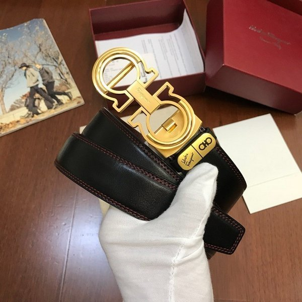 Genuine leather gold distribution picture packaging Mens Belt Authentic Official Belt With Box