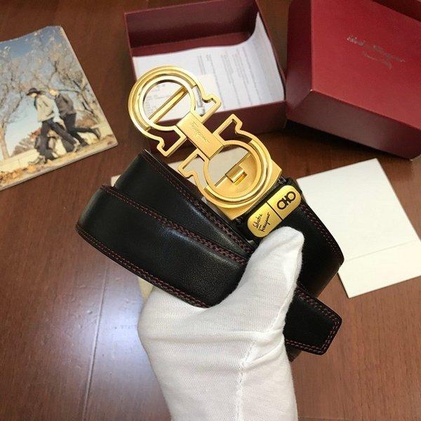 Image de distribution en cuir véritable doré emballage Ceinture pour homme Authentique ceinture officielle avec boîte
