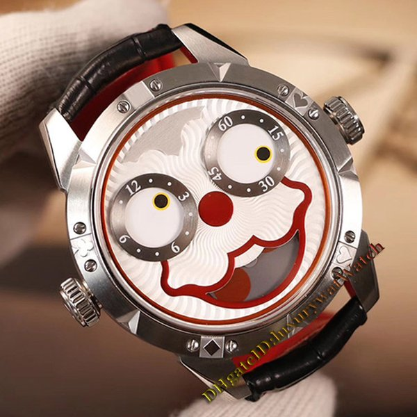 Unique Smiling face Creativity Konstantin Chaykin Joker Red Dial Swiss Quartz Mens Watch CNC grinding Silver Case Leather Strap Watches