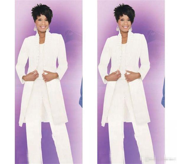 2019 Beyaz Anne Gelin Damat Pantolon Düğün için Suits Uzun Kollu Şifon Ruffles Ucuz Modern Kadınlar Balo Abiye giyim Custom Made