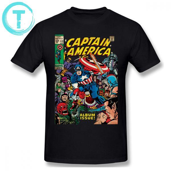 Camiseta Capitán América Camiseta Capitán América Comic -112 Camiseta de manga corta Moda Hombre Impreso Diversión 100 Camiseta de algodón