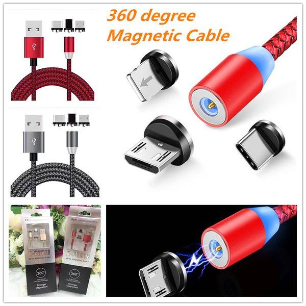 2019 neue 360 LED Magnetische Ladekabel für iPhone XR XS X Handy Magnet Ladegerät Micro USB Kabel Typ C Draht Mit Retai pakcing