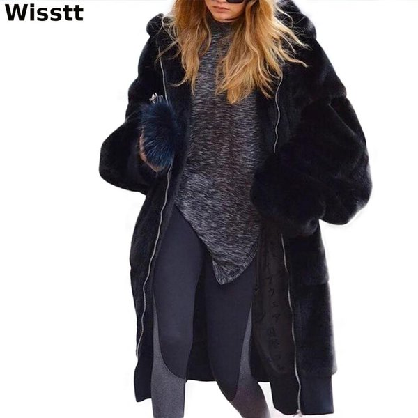 WISSTT 2018 Cappotto in pelliccia sintetica da donna nuovo inverno alla moda Cappotti per capelli medio lunghi ad alto spessore