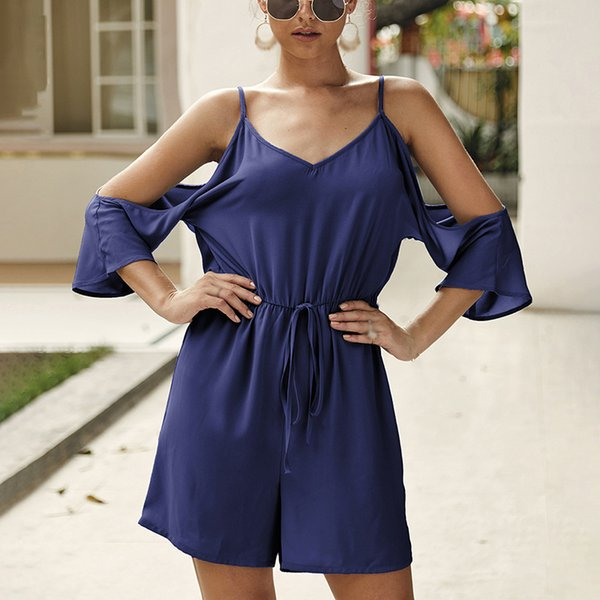Women Romper Ladies Jumpsuit Beach Summer Chiffon Loose Sexy Fashion Half Sleeves Solid 2019