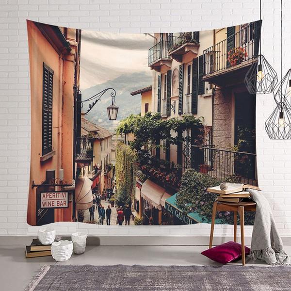 Impressão digital de rua Europeia tapeçaria olhar cenário tapeçaria tapiz nordic dormitório casa tapete decorativo 150 * 130 cm cobertor