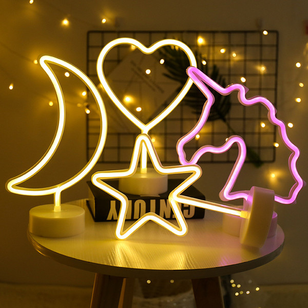 Party Decoration Neon Nightlight Cute Moon Star Lightning Flamingo Shape Battery USB Operated Neon Lamp For Holiday Decor