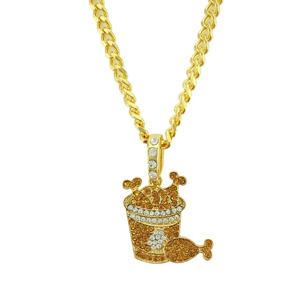 Men's Chicken Drumstick Pendant Necklace Free Steel Rope Chain Gold Silver Color Cubic Zircon Hip hop Jewelry For Gif