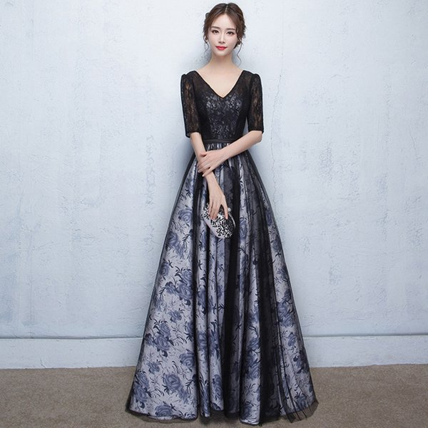 Sexy preto com decote em v a linha vestidos de noite 2018 nova alta costura meia manga baile party dress vestidos de noite vestido de