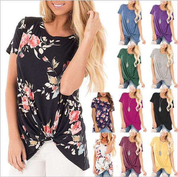 قميص المرأة الملابس الأزهار عقدة قمم عارضة قصيرة الأكمام قمصان الصيف الزهور تيز مطبوعة الأزياء blusas vestidos زي الملابس B4992