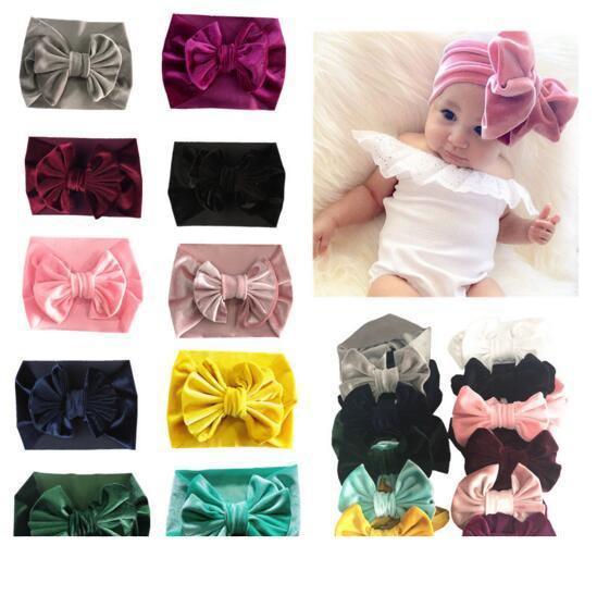 11 Couleurs Bébé Fille Pleuche Grand Arc Design Bandeau mode doux Bohême Arc Fille Infantile Cheveux Accessoires Bandeau