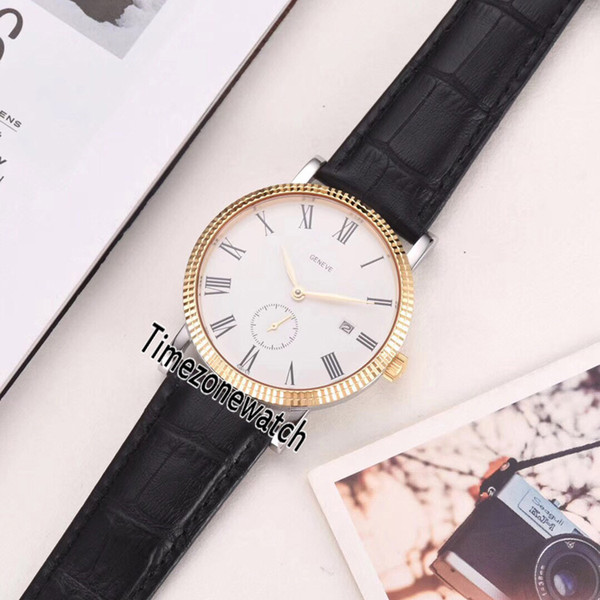 New Calatrava 5119J-001 18K Yelllow Gold Case White Dial Automatic Mens Watch Black Leather Strap 11 Color Gents Watches Timezonewatc P-E11A