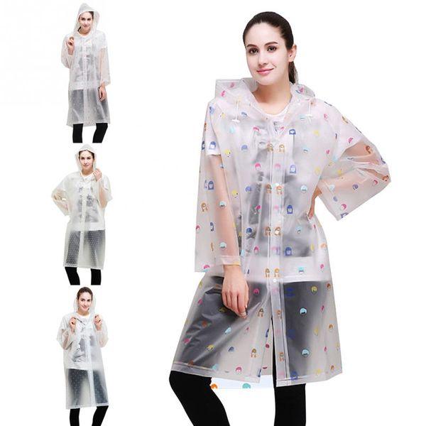 New Fashion Women Floral Transparent Eva Plastic Girls Raincoat Travel Waterproof Rainwear Adult Poncho Outdoor Rain Coa