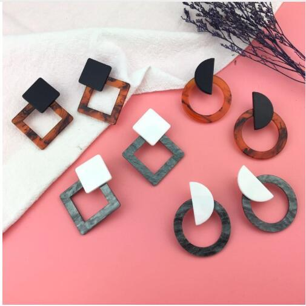 2019 Fashion Jewelry Leopard Acrylic Resin Oval Dangle Earrings For Women Geometry Big Circle Square Earrings Acetate Brincos