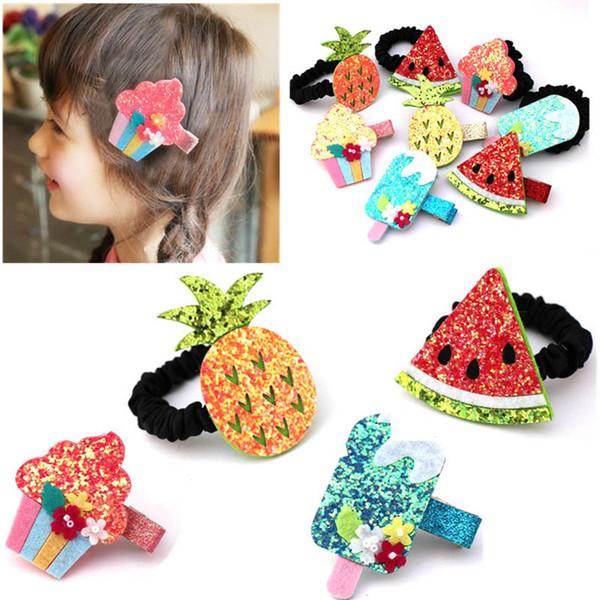 Cravatte dei capelli delle ragazze coreane del fumetto glisten gelato bambini Fasce per capelli svegli scrunchies dei capelli del progettista accessori per capelli della neonata A5323