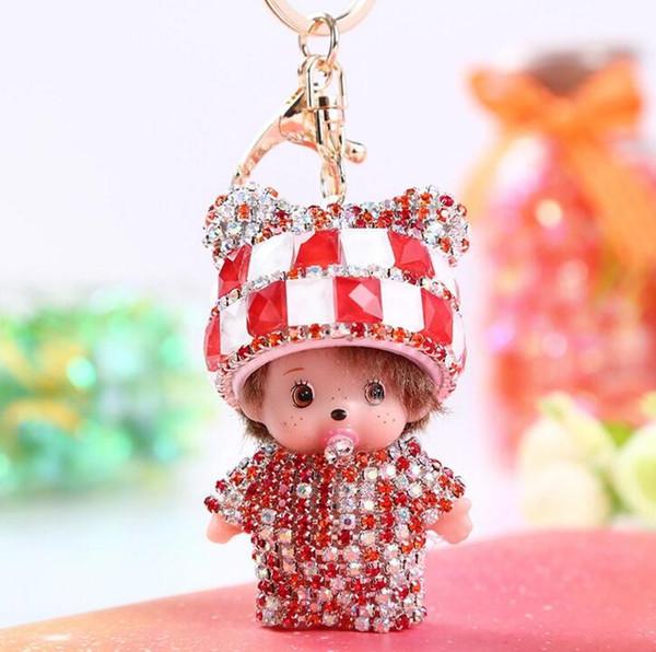 Small Gift Keychain Diamond Panda Meng Qiqi Keychain Sticker Creative Car Metal Key Chain Pendant Bag Hanging Wholesale