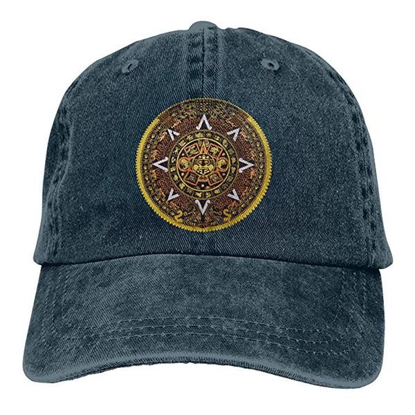 2019 New Custom Baseball Caps Aztec Calendar Archaeology Mens cotone regolabile lavato Twill cappello berretto da baseball