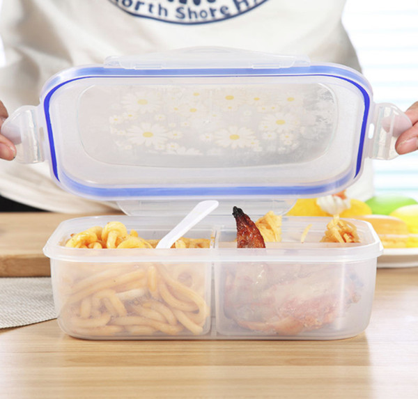 top popular 1000ml Lunch Boxes 3 Cell Food Container Healthy Plastic Bento Boxes Microware Oven Lunch Box 2021