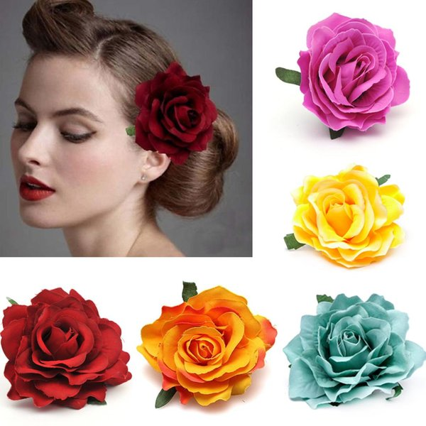 New Diy Headdress Hair Accessories For Bridal Wedding Flocking Cloth Red Rose Flower Hairpin Hair Clip Party Accessories