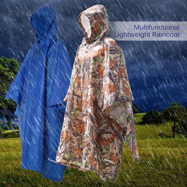 2019 Yağmur Panço Three-In-One Çok Fonksiyonlu Sırt Çantası Yağmurluk Kapüşonlu Açık Avcılık Yürüyüş Survival Kamuflaj Su Geçirmez Yağmurluk M409F
