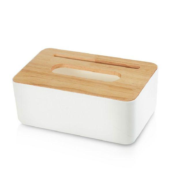 Аксессуары для декорирования Tissue Box Home Simple Стильный Твердый Многофункциональный Салфетка Хранения Офис Кухня Деревянный Пластиковый Держатель
