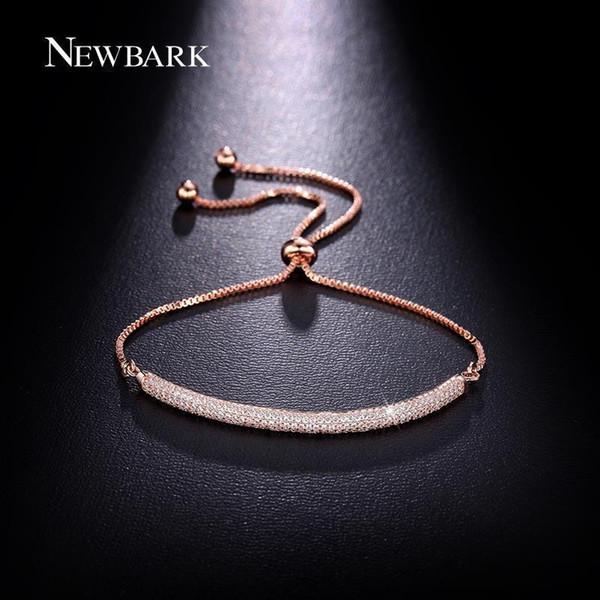 NEWBARK Charm Rose Gold Color Bracelets AAA CZ Stone Geometric Shaped Chain & Link Trendy Bracelets Best Jewelry Gift For Women