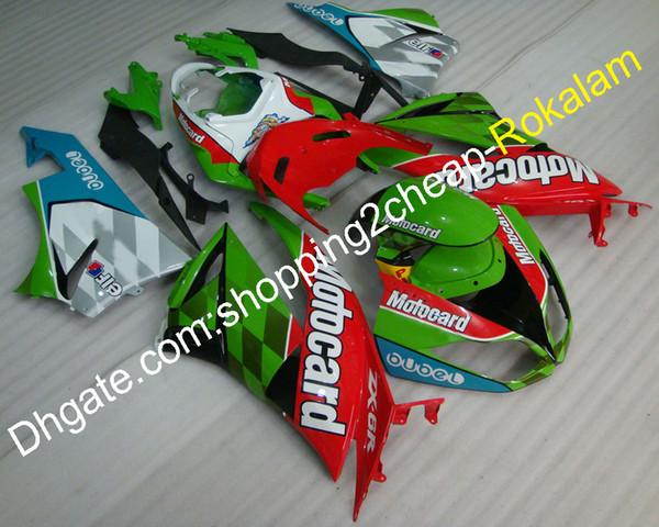 Para Kawasaki ZX6R Ninja Fairing kit 2009 2010 2011 2012 ZX-6R 09 10 11 12 ZX 6R 636 cubierta de plástico ABS (moldeo por inyección)