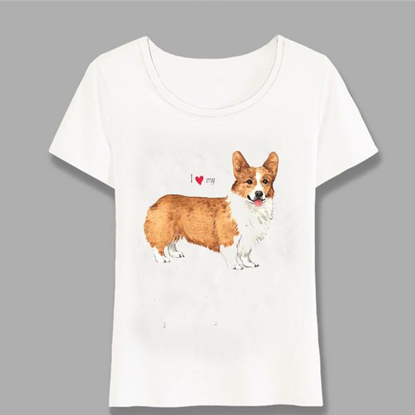 Nouvel été femmes T-shirt J'aime mon Pembroke Welsh Corgi Design T-shirt Femme Hauts Hipster Cool Girl manches courtes Tee Harajuku