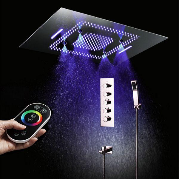 Soffione a cascata di lusso LED Set cascata di pioggia Misty Top Soffitto inciso Soffione doccia a pioggia di grandi dimensioni con regolatore termostatico Deviatore