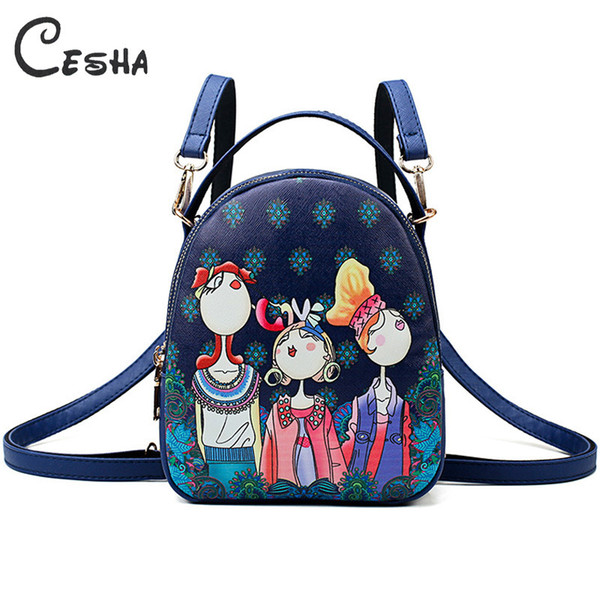 Fashion Cartoon Printing Women Handbag High Quality Pu Leather Shoulder Bag Ladies 3 Deck Cartoon Pattern Back Pack For Teenager Y19062003