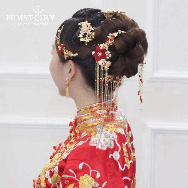 Traditionelle Chinesische Braut Kopfschmuck Kostüm Haarspangen Rote Blume Haarnadel Hochzeit Hairwear fotografie Haar Stick Zubehör C19010501