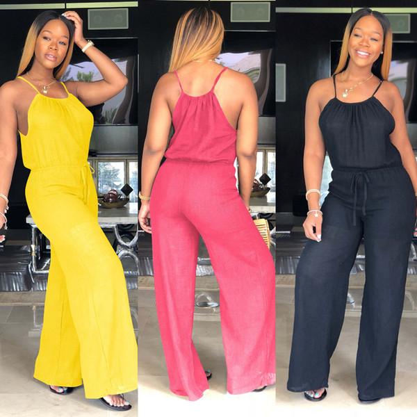 Frauen Sleevless Weites Bein Overall Hosen Club Sexy Beiläufige Lose feste Spielanzug Party Damen Strampler Outfit 1 stück AAA1996
