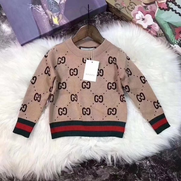 Hot Sale Boy Sweater 2019 Brand Designer Luxury Wool Knitted Pullover Winter Sweaters For Girls Children Dresses Clothes Kids Top 092009