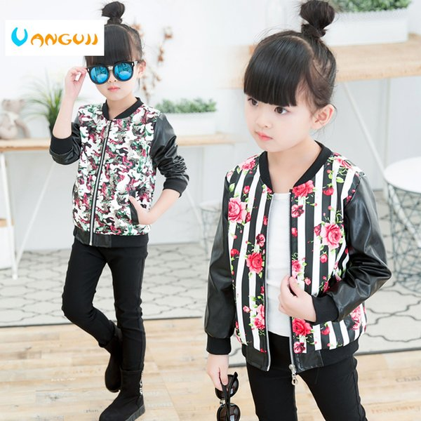girls leather coat children's fashion pu jacket 3-9 years old girl round neck print flowers camouflage artificial kids outwear