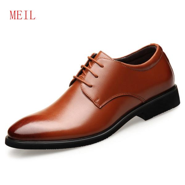 Escondido 6 CM Homens de Negócios Formais Homens de Couro Genuíno Vestido de Escritório Elevador Sapatos Conforto Cavalheiro Sapato Sapatos de Casamento de Negócios