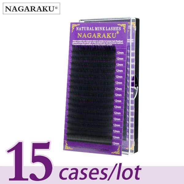 Nagaraku 15 Trays Eyelash Extensions High Quality Faux Mink Individual Eyelashes Single Size False Eyelash Soft And Natural J190706