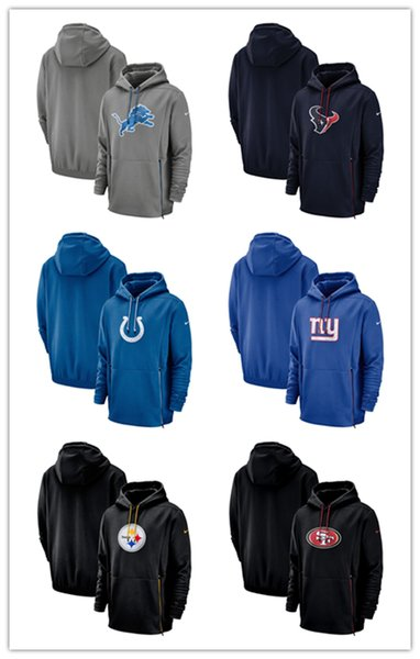 Detroit Lions 49ers Indianapolis Colts Francisco New York San Steelers de Pittsburgh Giants Sideline de performance des joueurs Pull à capuche